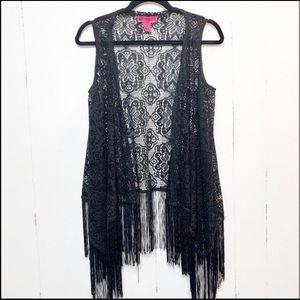 Demanding by Say What Black Crochet Fringe Vest